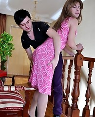 Kinky sissy in a pink summer dress seems to be ready for a gay anal workout