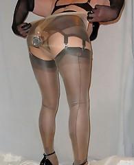 Crossdressers with big dicks making a creamy mess on their nylon stockings.