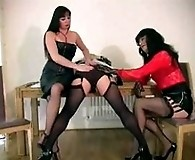 Slutty dominatrix and Yvette play with crossdresser maid