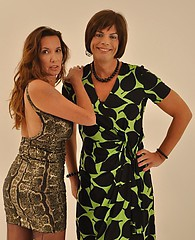 Hot Tgirl Juliet and sexy Milf Jane tease their long silky nylon legs wearing their pretty summer dresses