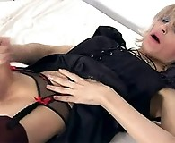 Sexy crossdresser plays with her hard cock