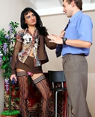 Sissified guy in hot patterned stockings lures his co-worker into wild anal