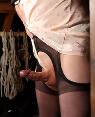 Naughty Lucimay gets tied up to the rafters by her master