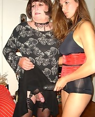 Jane plays host to this mature tranny party