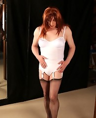 Sexy TGirl slut Lucimay has her body bound and shows off her hard cock