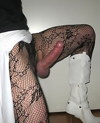 This crossdresser loves showing off his big dick