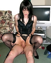 Slutty Tgirl Kirsty sucks on a couple of hard cocks then rides a lucky guy
