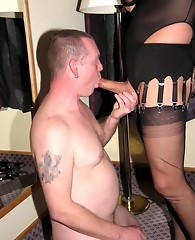 Crossdressing bitch Yvette wearing nylons and getting her cock sucked